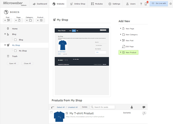 Screenshot of Microweber Ecommerce