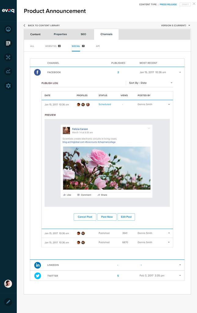 Screenshot of Liquid Content Manage Chanels